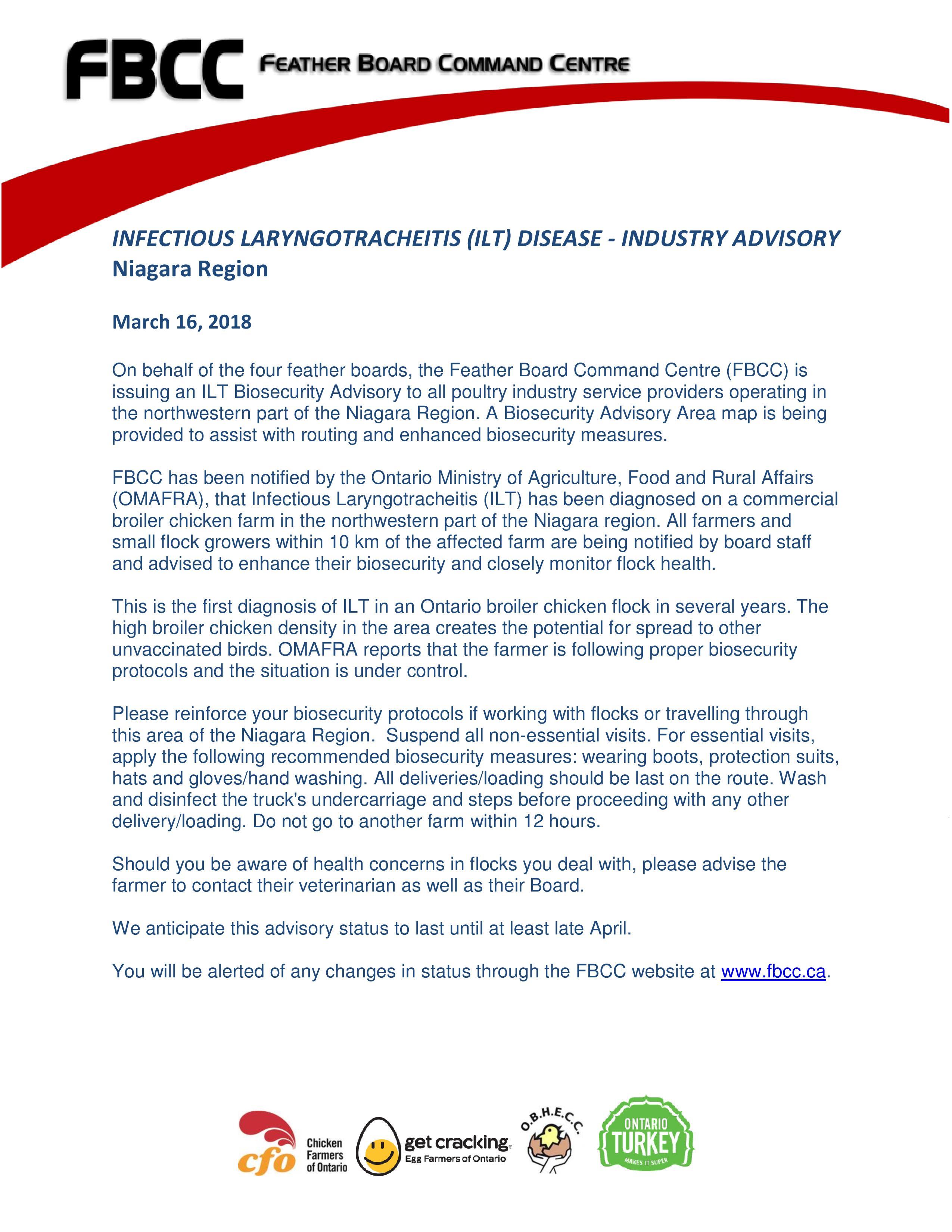 ilt biosecurity advisory for niagara region
