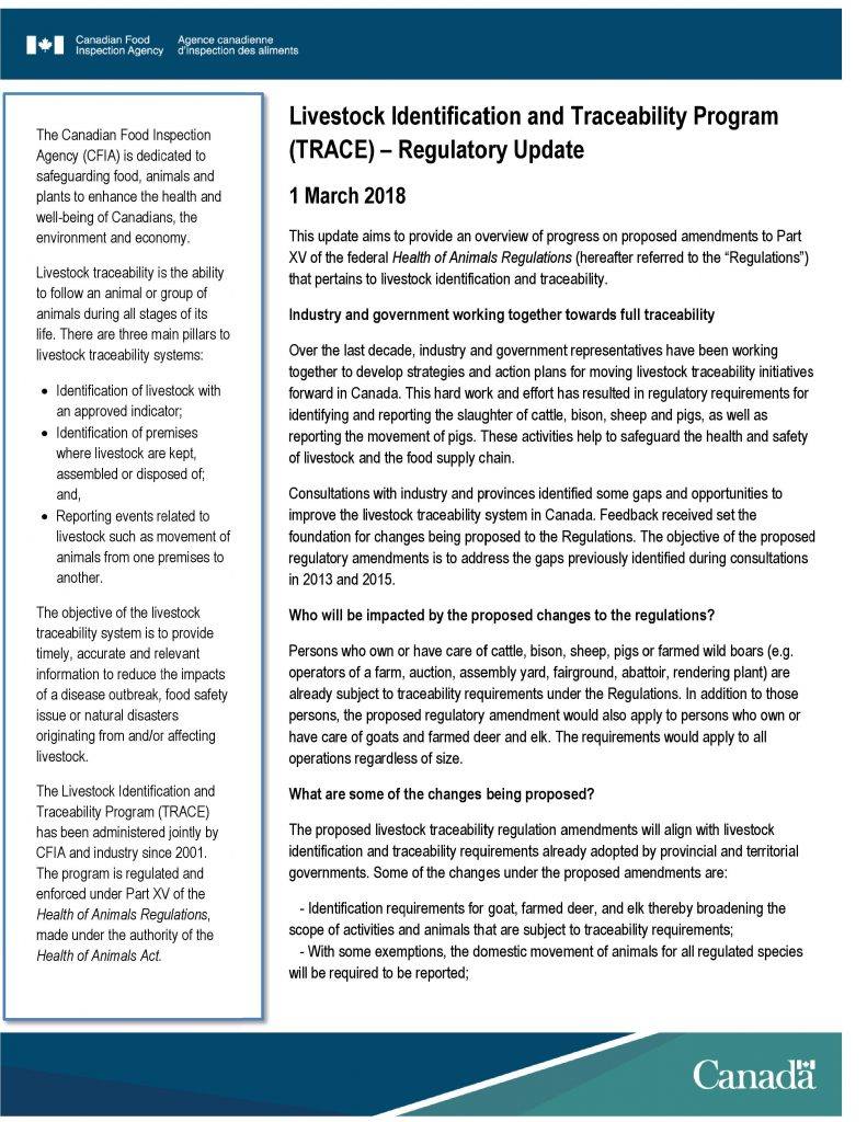 Livestock Identification and Traceability Program (TRACE) – Regulatory Update