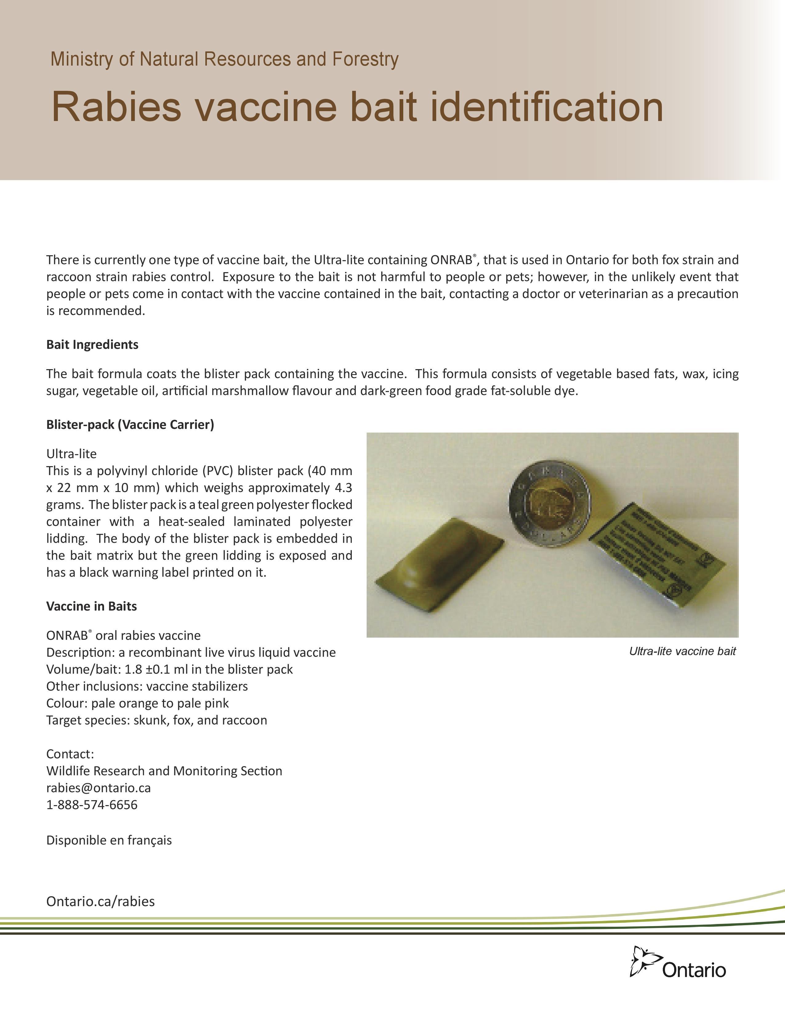Ontario Rabies Vaccine Baiting Distribution - Ontario Animal Health