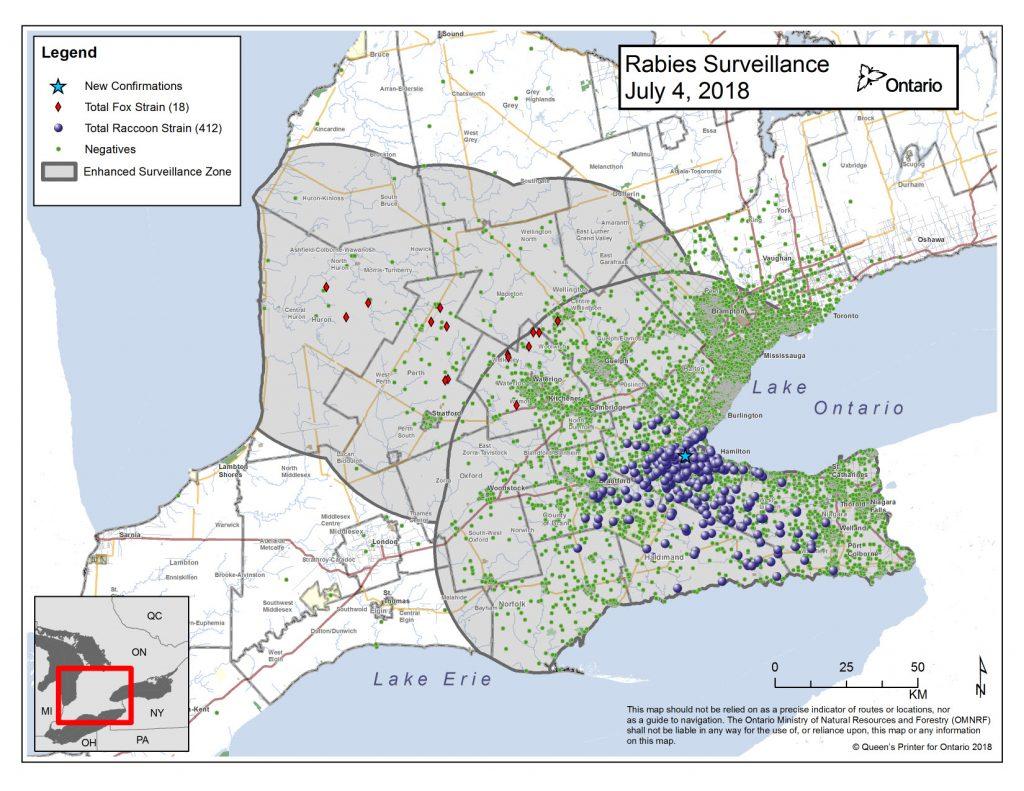 RAbies map of Ontario - July 4 2018