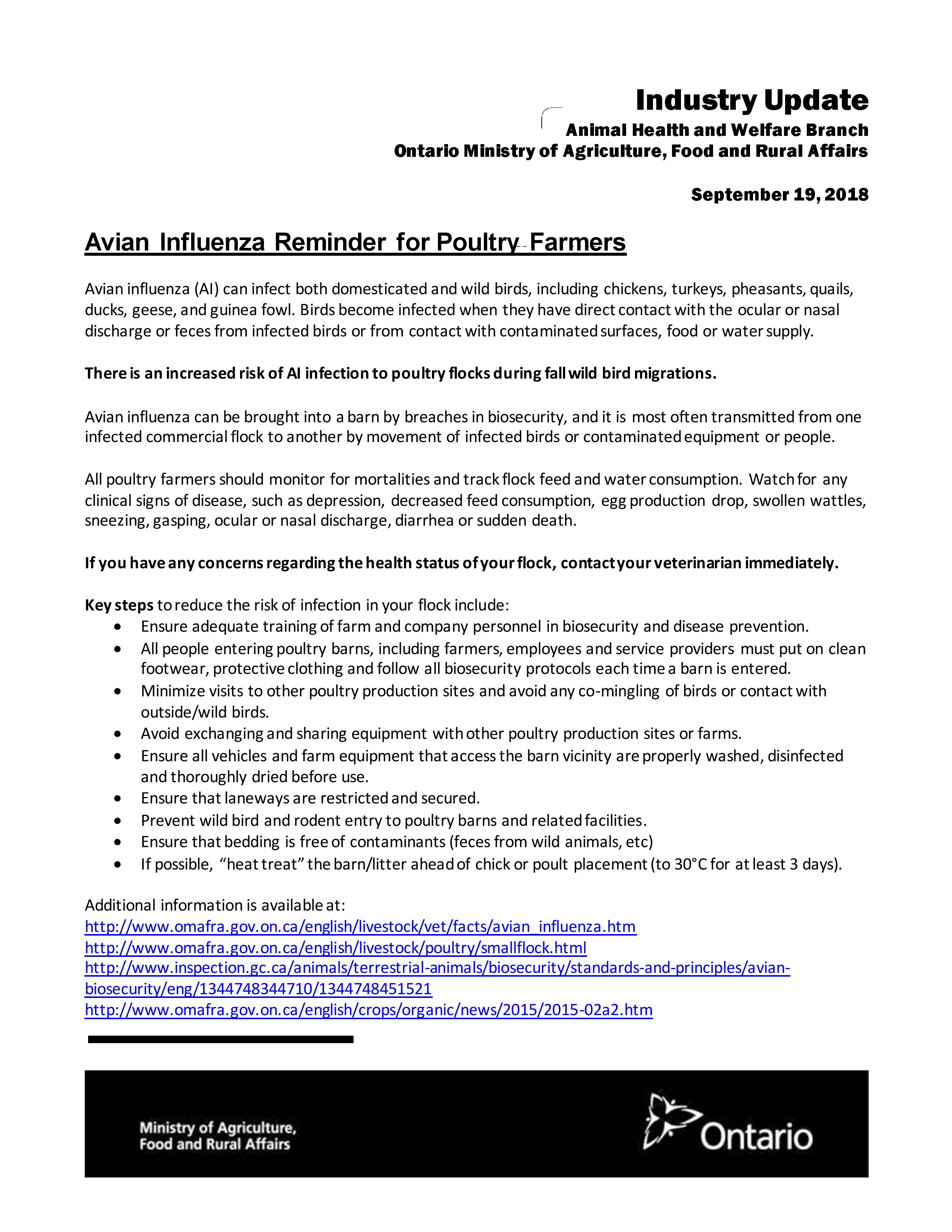 OMAFRA Avian Influenza Reminder for Poultry Farmers - Ontario Animal