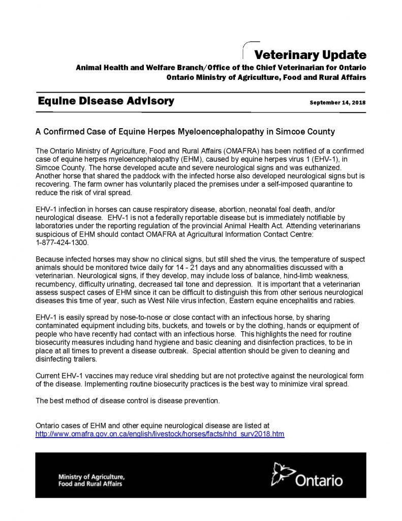 Confirmed Case of Equine Herpes Myeloencephalopathy in Simcoe County