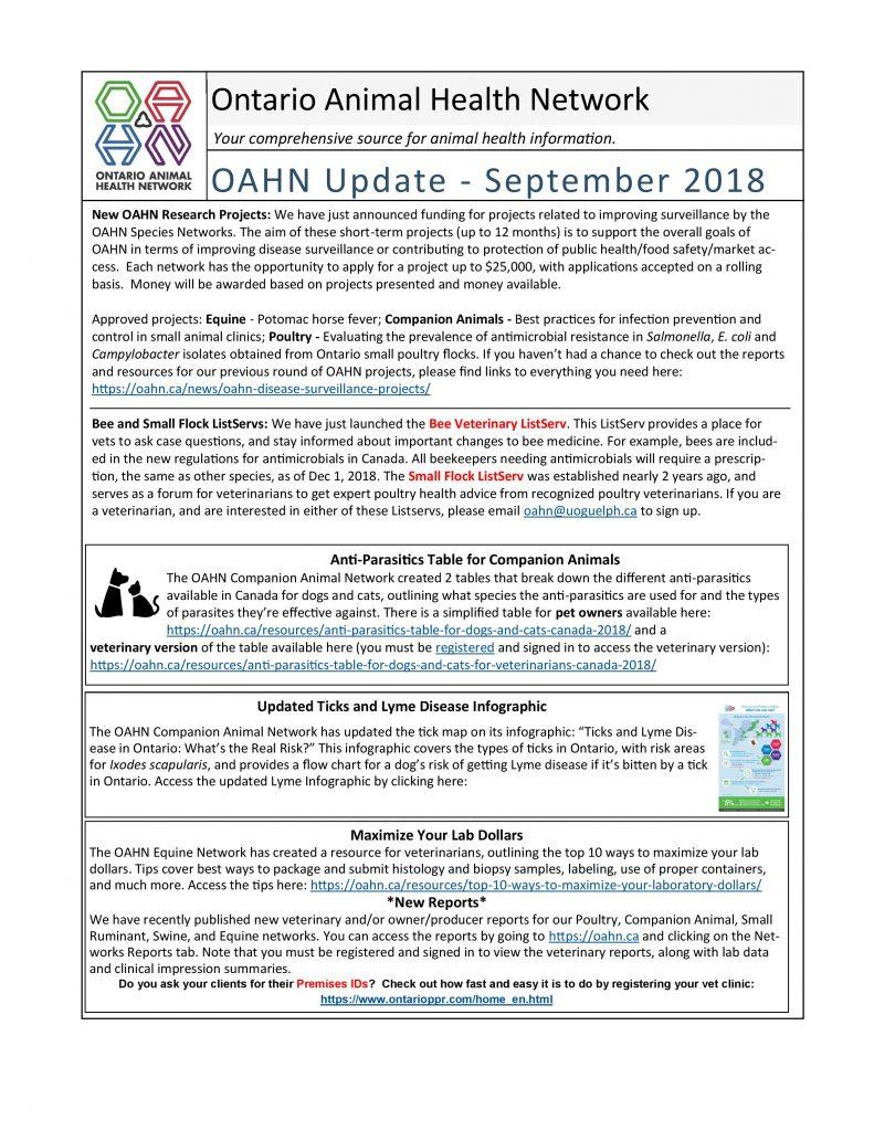 OAHN Insert from AHL Newsletter, September 2018