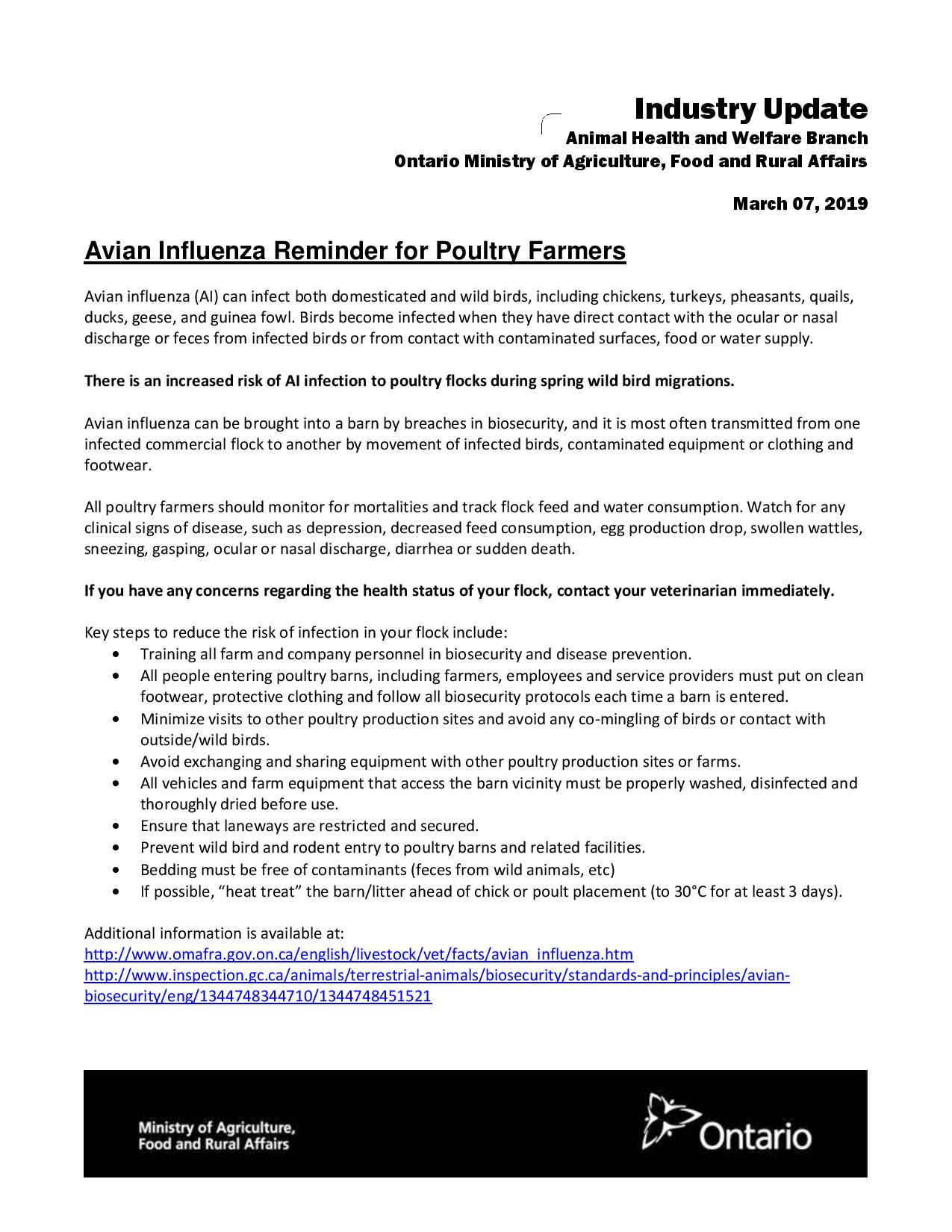 Avian Influenza Reminder for Poultry Farmers - Ontario Animal Health