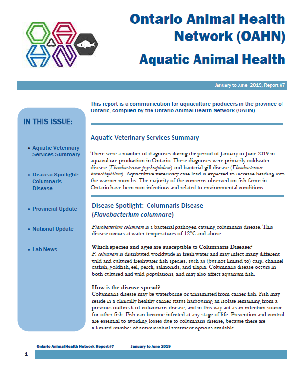 Aquatic Animal Health Report July 2019
