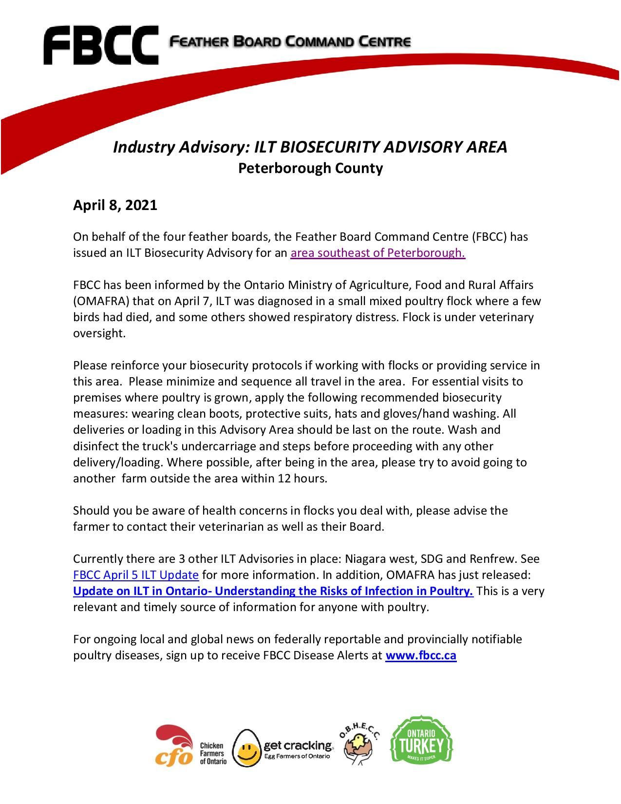 ILT advisory for Peterborough from Apr 8, duplicate of the PDF posted as a link.